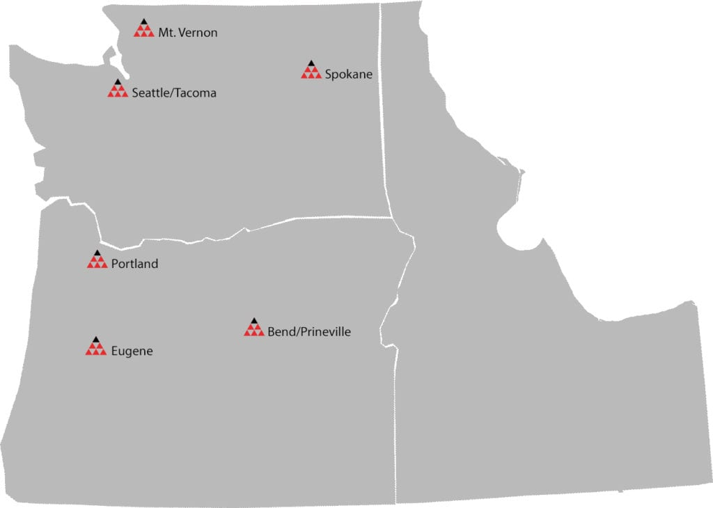Triad Machinery is located all over the Pacific Northwest