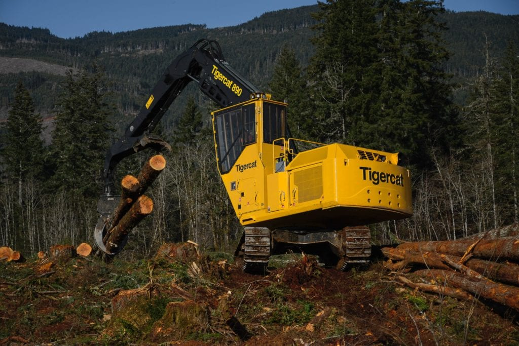Tigercat brand logging machinery in the field